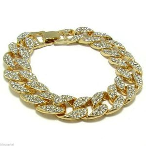Full Stone Cuban Bling Bracelet 8""