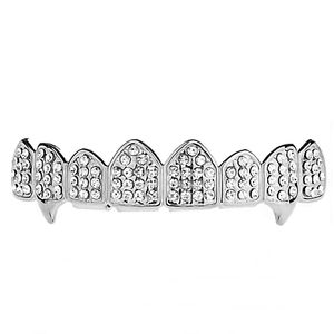 Silver Bling 8 Top Teeth Fang Grillz