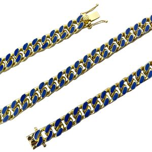 "14K Gold Plated 24"" Blue Cuban Chain"