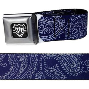 Blue /White Paisley Buckle-Down Belt