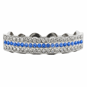 Silver 3 Row Blue Bling Top Grillz