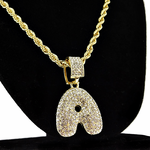 """Bubble Letter A Gold Rope Chain 24"""""""