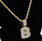 """Bubble Letter B Gold Rope Chain 24"""""""