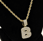 Bubble Letter B Gold Rope Chain 24""