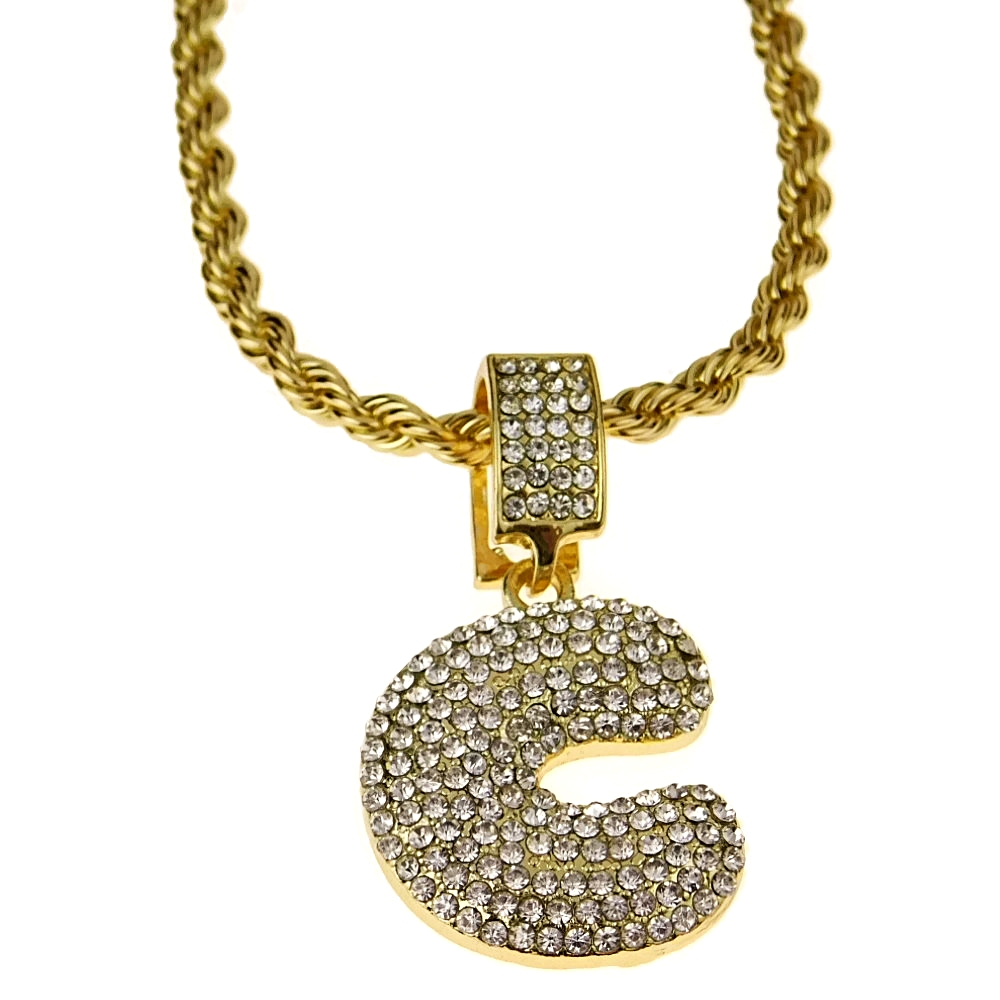 Bubble letter c gold rope chain 24 rope chains bubble letter c gold rope chain 24 altavistaventures Images
