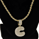 Bubble Letter C Gold Rope Chain 24""