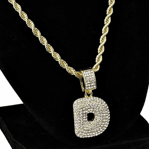 Bubble Letter D Gold Rope Chain 24""