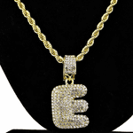 Bubble Letter E Gold Rope Chain 24""
