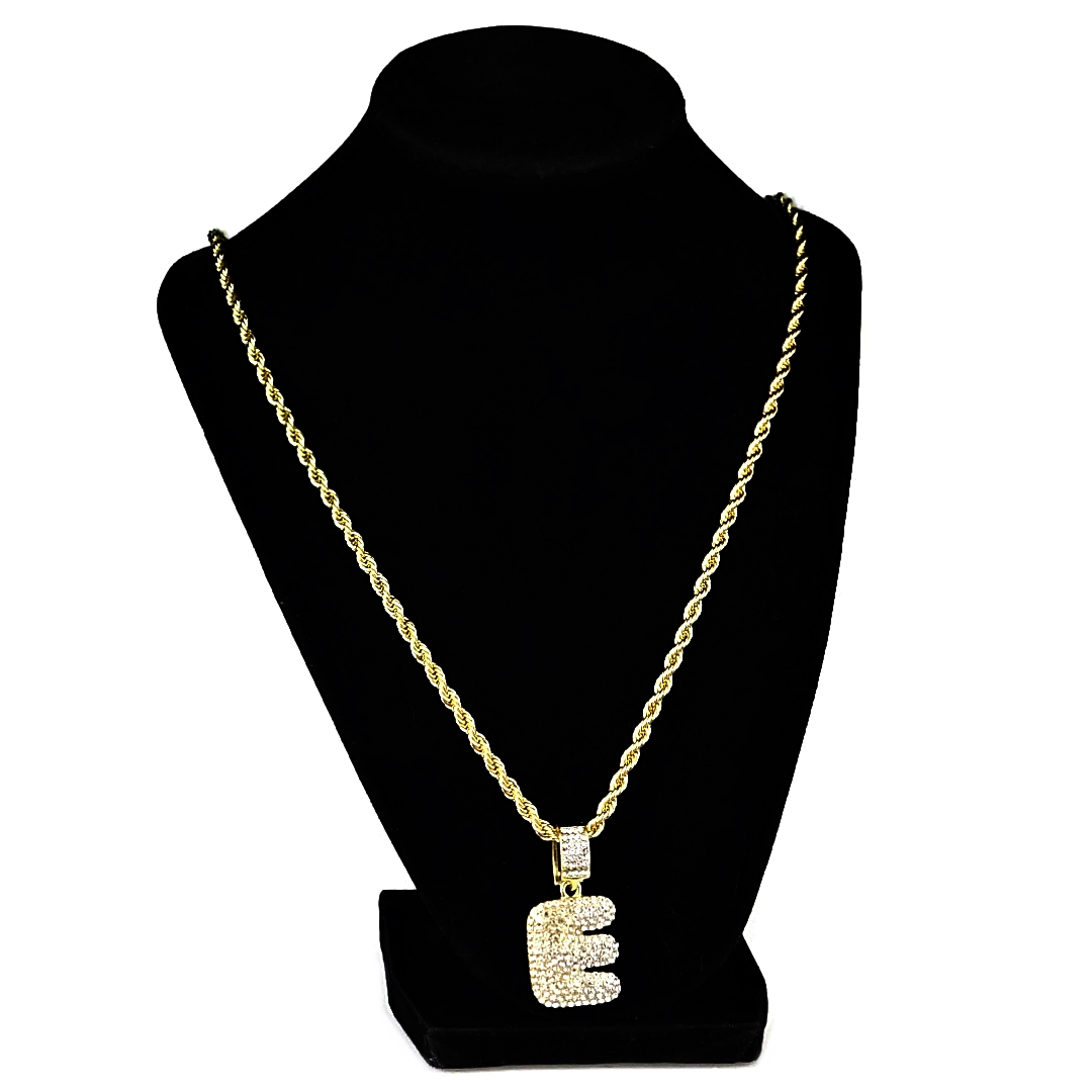 Bubble Letter E Gold Rope Chain   Rope Chains
