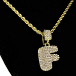 Bubble Letter F Gold Rope Chain 24""