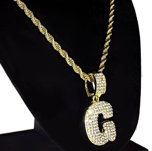 Bubble Letter G Gold Rope Chain 24""