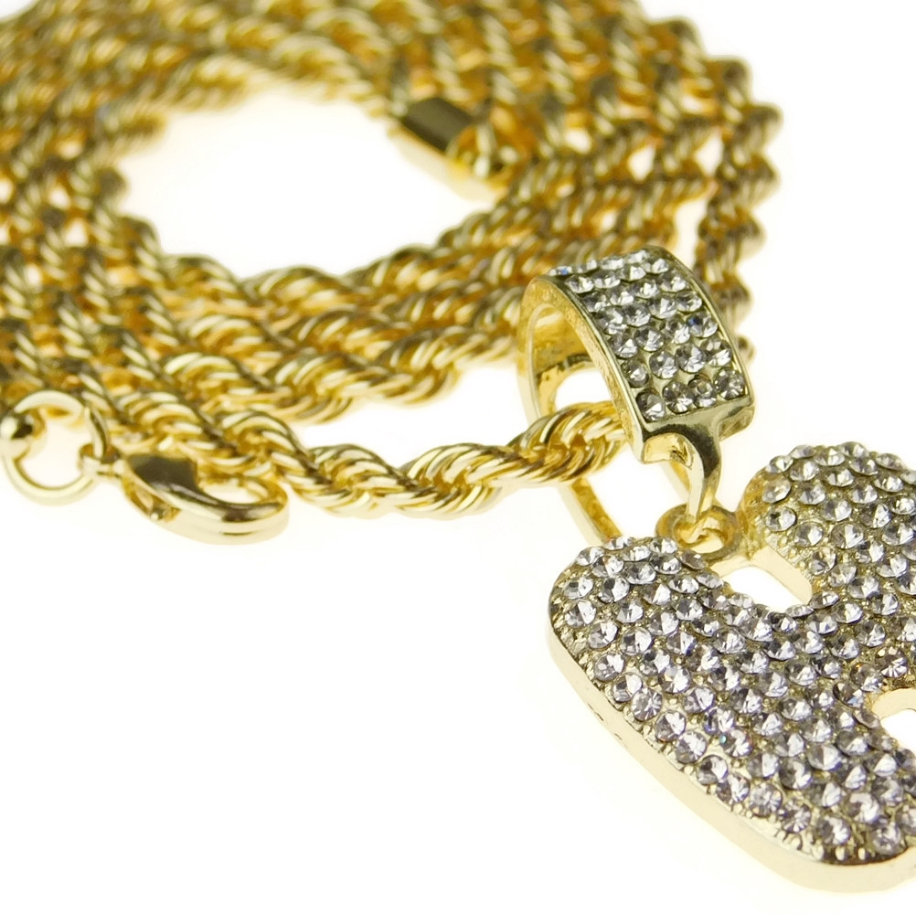 c362143b10f84 Bubble Letter H Gold Rope Chain 24