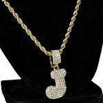 Bubble Letter J Gold Rope Chain 24""
