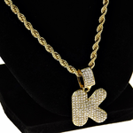 """Bubble Letter K Gold Rope Chain 24"""""""