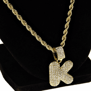 Bubble Letter K Gold Rope Chain 24""