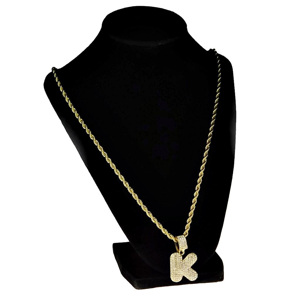 51ab6b0b2277c Bubble Letter K Gold Rope Chain 24