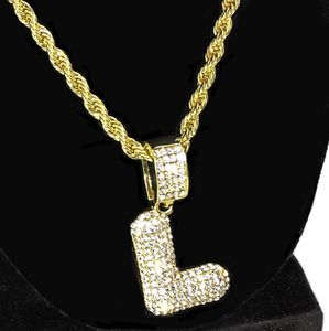 Bubble Letter L Gold Rope Chain 24""