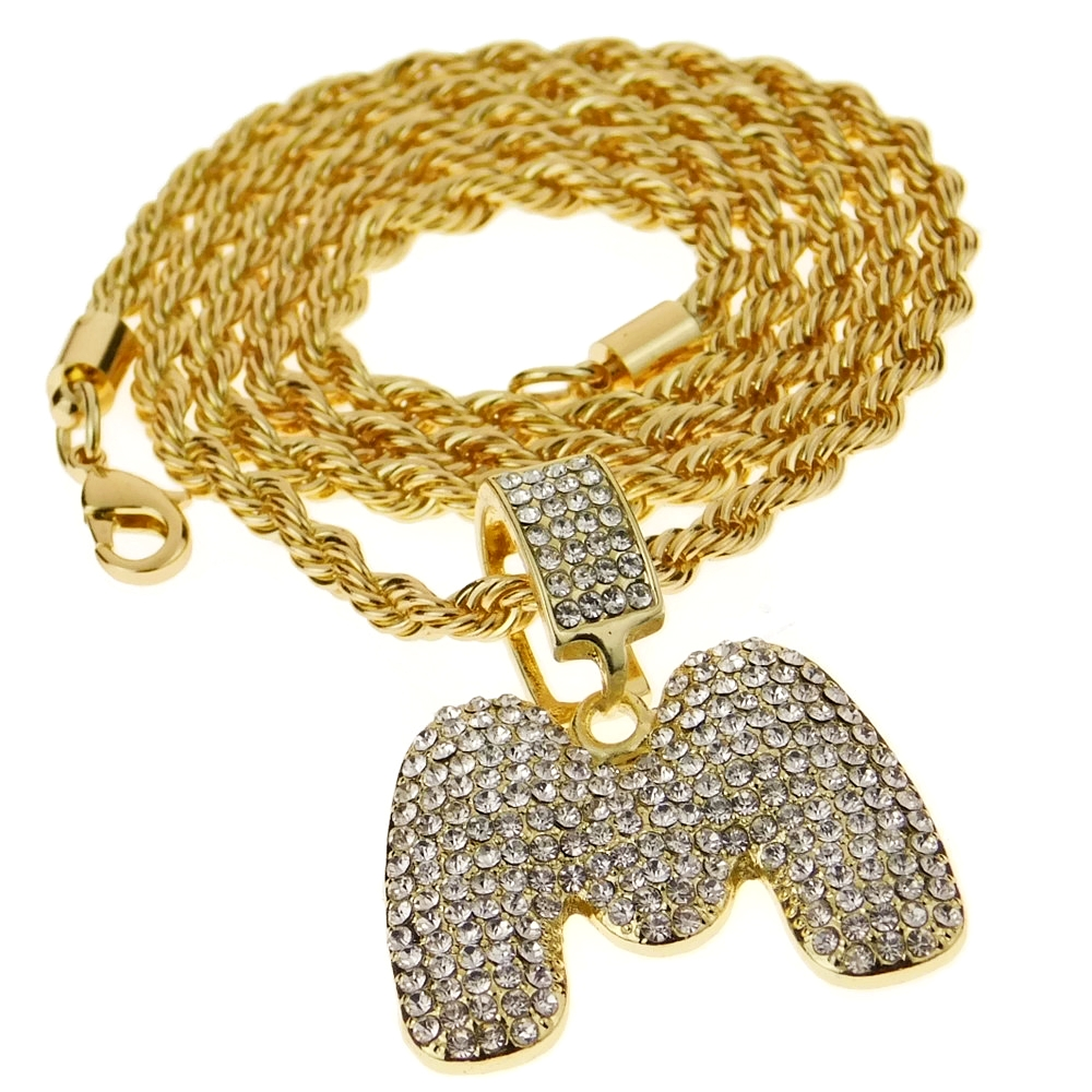 Bubble Letter M Gold Rope Chain 24