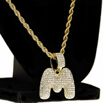 Bubble Letter M Gold Rope Chain 24""