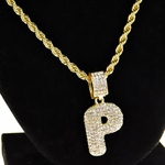 """Bubble Letter P Gold Rope Chain 24"""""""