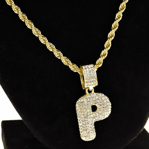 Bubble Letter P Gold Rope Chain 24""