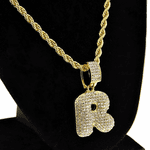 Bubble Letter R Gold Rope Chain 24""