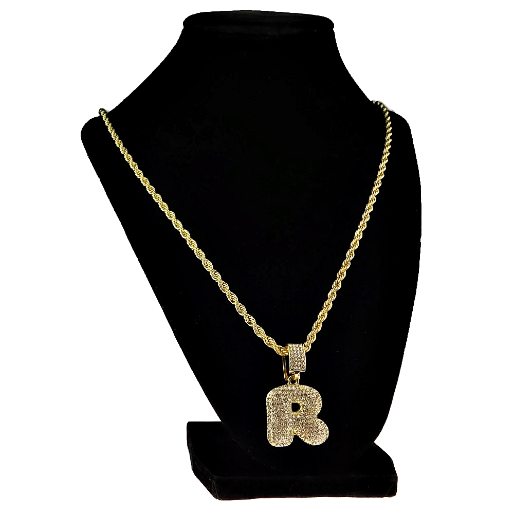 Bubble Letter R Gold Rope Chain 24