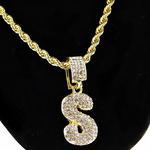 """Bubble Letter S Gold Rope Chain 24"""""""