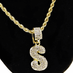 Bubble Letter S Gold Rope Chain 24""