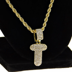 """Bubble Letter T Gold Rope Chain 24"""""""