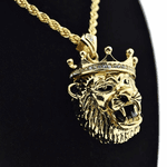 3D Crown Lion Rope Chain 24""