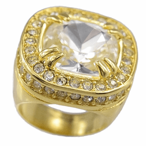 Huge Clear Stone Gold Bling Ring