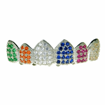 Silver Tone CZ Rainbow Top Grillz