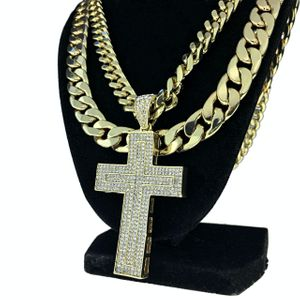 """Iced Cross Gold 30"""" Two Cuban Chains"""