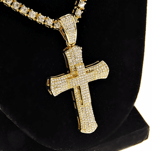 "One-Row Gold 24"" Cross Chain"