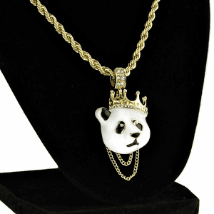 "Crown Panda 24"" Gold Rope Chain"