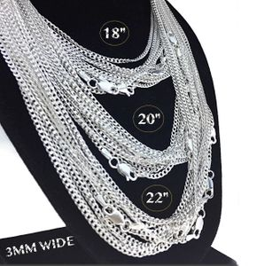 "Cuban Chain 3MM 925 Silver (18-22"")"