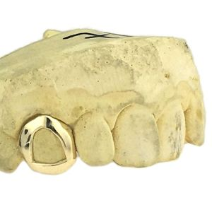 Real 10K Gold Open Face K9 Custom Tooth Cap