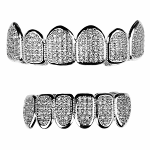 Premium CZ Silver Teeth Grillz Set