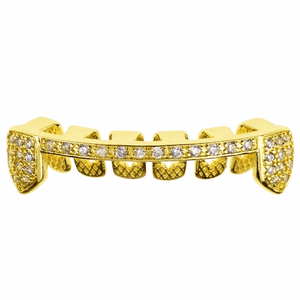 Gold Slim CZ Bottom Teeth Half Grillz