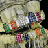 Silver CZ Rainbow Teeth Grillz Set