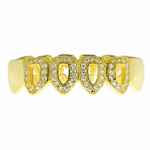 Gold CZ 4 Open Bottom Teeth Grillz