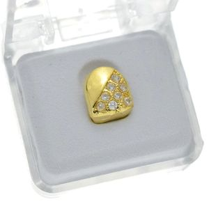 Gold CZ Half Stone Top Tooth Cap