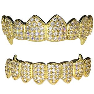 Gold CZ 8/8 Vampire Fangs Grillz Set