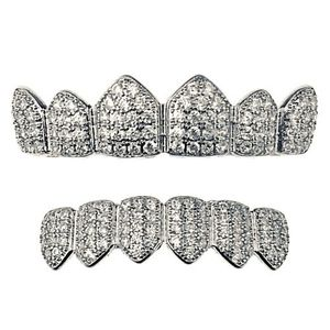 Silver Tone CZ Bling Teeth Grillz Set