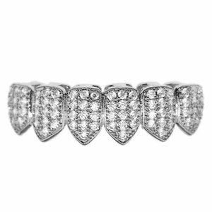 Silver CZ Bottom Teeth Bling Grillz