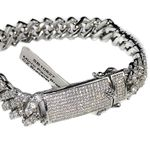 "White Gold Plated CZ Bracelet 8.5""x12MM"