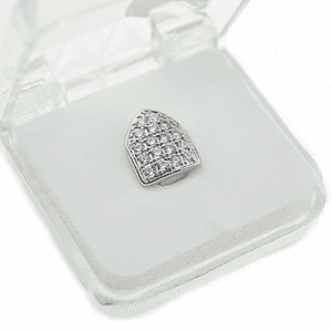 Silver CZ Bling Top Single Tooth Cap