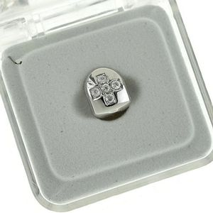 Silver Cross CZ Top Single Tooth Cap