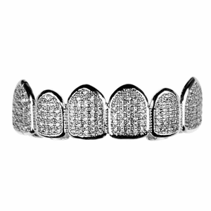 Premium CZ Silver Top Teeth Grillz